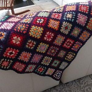 Vintage Granny Square Afghan Throw Blanket navy